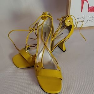 Bellini yellow lace up heels